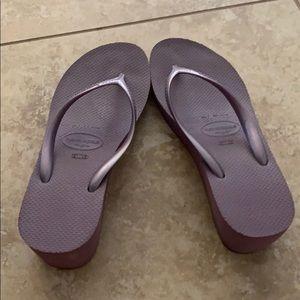Havaianas High lavender flip flops